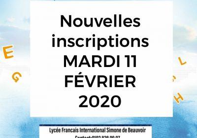 Mardi 11 février 2020: journée des nouvelles inscriptions